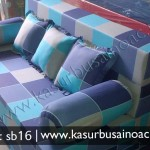 Sofa Bed Motif Kotak Biru
