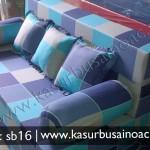 Sofa Bed Motif Kotak Biru